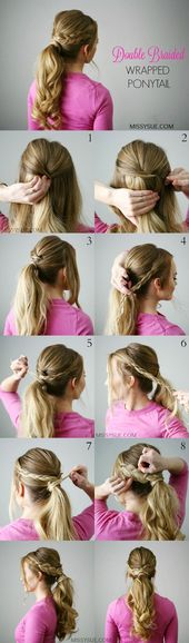 Double Braid Wrapped Ponytail – Short Hair Hairstyles