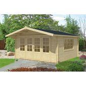440 cm x 530 cm Gartenhaus Treyton Garten Living Fundament: Mit Fundament, Boden: Mit Fußboden – 18 mm, Dach: Rechteckig Rot