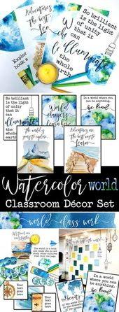 Watercolor World Classroom Decor: World Literature, Geography, Historical past