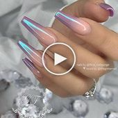 ✨ Violettes Ombre mit Chromeffekt auf langem Sarg … – #Chrome #Coffin #effect