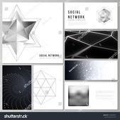 The minimalistic abstract vector layouts of modern social network mockups in popular formats. 3d polygonal geometric modern design abstract background…