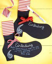 Invitations  Einladungskarten passend zum Kuchen für den Kindergeburtstag mit Pippi Langstru...