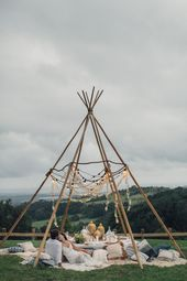 Wedding in tent, teepee wedding in boho style