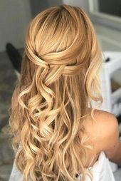 Nette und einfache Hochzeitsfrisuren ★ einfache Hochzeitsfrisuren elegant einfach halb hoch halb runter mit losen Locken auf blondem Haar marianna_zambenedetti #d ...