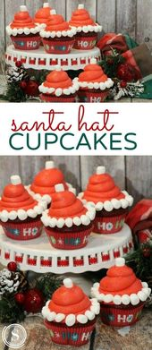 Santa Hat Cupcakes Recipe for Holiday Baking with Kids! Christmas Desserts for C…