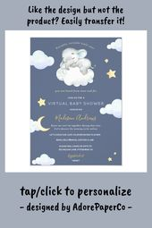 Baby Showers Twinkle Virtual Baby Shower Twinkle Little Star Elephant Invitation - tap/click to get y...