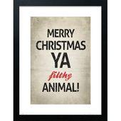 Photo of Poster Frohe Weihnachten Tier Die saisonale Truhe Format: Rahmen aus Eiche, Größe: 70 cm H x 50 cm