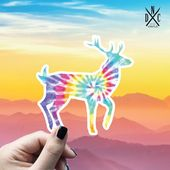 Deer Tie Dye Vinyl Sticker, Best Friend Gift, Animal Decals, Deer Stickers, Decal, Macbook Decal, St