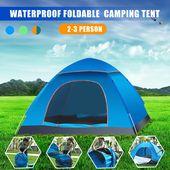 2-3 personne imperméable à l'eau en plein air pliable Pop Up tente ouverte Camping Randonnée Plage Voyage Protection UV Sunshelter Tente Imperméable   – Camping and Hikings