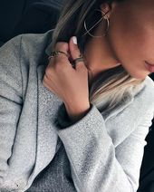 25 + › Bold Hoops Gold – #fashion #naments #earrings #ootd # trends2018 #potd #f