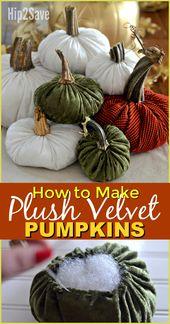 DIY Plüsch Samt Kürbisse (festliche Herbstdekoration Idee)