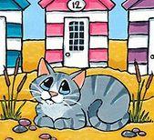 «Gato atigrado fuera de la cabaña de playa 12» de Lisa Marie Robinson
