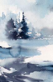 Blaue abstrakte Landschaftsursprüngliche Aquarell-Malerei, Winterlandschaft mit einsamer Abbildung, abstrakte Realismusnaturmalerei – Tirozzini – Wholepics