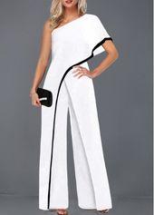 Contrast Piping Weißer Jumpsuit mit einem Ärmel für nur 32,17 US-Dollar, günstig kaufen …