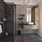 Photo of An Italian shower in an industrial style bathroom