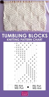 This Tumbling Moss Block Stitch knitting pattern creates an illusion with 3 different text …  – socken