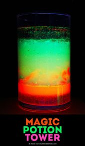 Spooky science projects for kids: Make a glowing Magic Potion Density Tower and ... 2