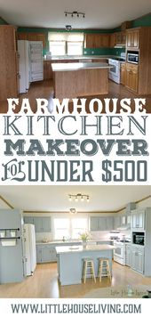Farmhouse Style Kitchen Makeover for Under $500