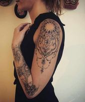 Extremely cool tattoo ideas for girls with a full arm to be shown in 2019  #extremely #girls …