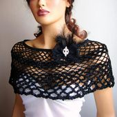 Black Lace Bride  Bridesmaid Shawl Bolero Wrap Shrug Capelet, Wedding Wrap, Woman Summer Shawl