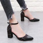 Zapatos clásicos Bombas para mujer Zapatos gruesos de tacón alto Correa para el tobillo Rejilla …   – Schuhes