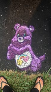 Friendship Bear Care Bear chalkart #sidewalkchalkart #chalkart #ilovechalk #care…   – Sidewalk chalk art