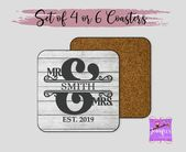 Mr. & Mrs. Coasters, Farmhouse Coasters, Wedding Gift, Gift for Couples, Engagement Gift, Personaliz   – Products
