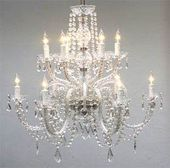 Crystal Chandelier Lighting Dressed with Swarovski Crystal H27 X W32 – Good for Dining Room, Foyer, Entryway, Family Room and More! – G46-385/6+6SW