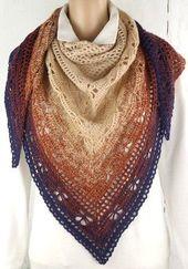 "Crochet Pattern Triangular Scarf ""Butterfly"""