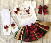 Baby Girl 1st Christmas Outfit – Buffalo Plaid Christmas Outfit – Christmas Tutu – My First Christmas Bodysuit – Woodland Christmas Outfit – Sewing – Baby