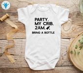 Party At My Crib Bodysuit, Funny Baby Clothes, Cute Bodysuit, Baby Boy Clothes, Baby Girl Bodysuit, Baby Girl Clothes, Baby Boy Bodysuit