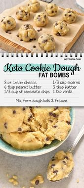 Easy Keto Cookie Dough Fat Bombs (Chocolate Chips, Cream Cheese & Peanut butter!)