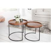 Retro set of 2 side tables Elements 55cm acacia solid wood stone finish Riess …