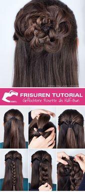 Anleitung für Frisuren: So erstellen Sie die geflochtene Rosette - #die # Frisuren #Braided #Creat #Rosette