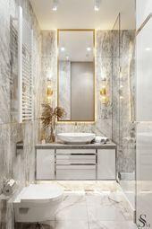 Зеркало обрамлено латунью #luxurywashroomdesign – Small master bathroom