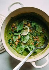 DEEP GREEN LENTIL STEW WITH SPINACH, TAHINI & LEMON