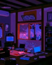 pixel art video LA night 90s old tv digital art 3d artwork synthwave music video
