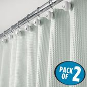 "mDesign LONG Waffle Weave Fabric Duschvorhang – 72 ""x 84"", Light Aqua, 2er Set   – Products"