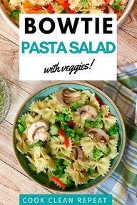 Today were making bow tie pasta salad. This classic recipe uses garlic balsamic dressing and bow tie pasta. Its loaded with veggies too!