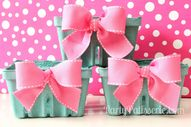 Pink Bow Berry Baskets, Valentine, Birthday, Baby shower, Set of 6