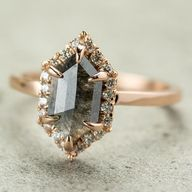 1.18 Carat Grey Hexagon Halo Diamond Ring, 14k Rose Gold beautiful holiday gift for right hand!