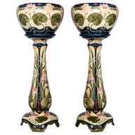 Pair of Enamel Ceramic Planters, Art Nouveau Period, Germany, circa 1900 For Sale at 1stDibs