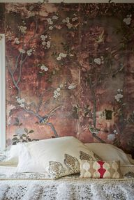 De Gournay, hand painted silver-leaf silk that tarnishes with age. Home of Berkeley designer Erica Tanov