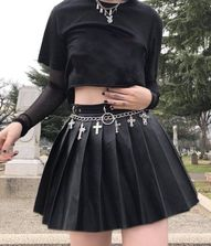 Rivet Pleated Black Skirt with Metal Ring Chain - #fashion #skirts #nugoth #goth #alternative