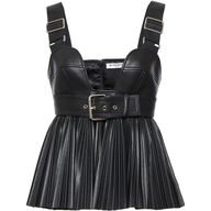 Givenchy Faux Leather Top (775 KWD) ❤ liked on Polyvore featuring tops, givenchy, sweetheart neckline tops, faux leather top, sweetheart neck top, buckle tops and givenchy top
