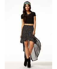 Polka Dot High-Low Skirt | FOREVER21 - 2061068947