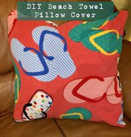 DIY Beach Towel Pillow Cover - lovemycottage