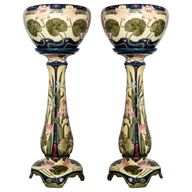 For Sale on 1stDibs - Pair of enamel ceramic planters, Art Nouveau period, Germany, circa 1900.