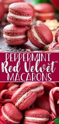 Peppermint Red Velvet Macarons #ChristmasSweetsWeek