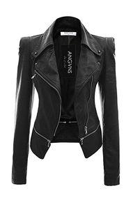 ANGVNS Chaqueta cazadora biker Jacket de cuero sintético para mujer